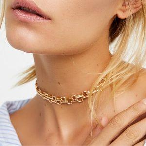 Free People Amanda Gold Metal Choker Necklace
